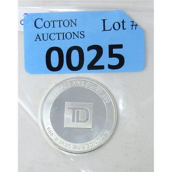 Half Oz .999 Fine Silver TD Bank Investor Round