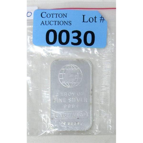 1 Oz. .999 Fine Silver Engelhard Bar