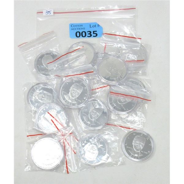15 Silver Plated 2021 President Biden Rounds