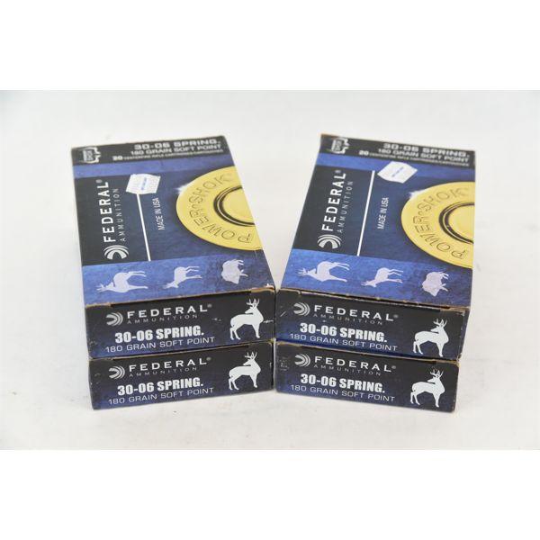 Federal Power Shok 30-06 SPRG 180 Grain Soft Point 4 x 20 Round Boxes