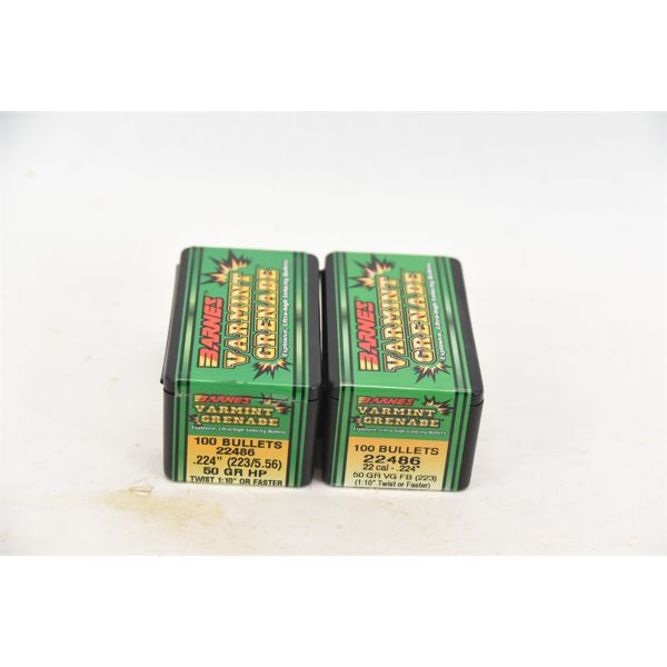 Barnes Varmint Grenade Bullets 50gr. HP Twist 1:10 or Faster