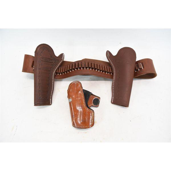Oklahoma Leather Holster Set L40-45 .38cal. Stamped on Belt & Model P Browning Hi Power Holster