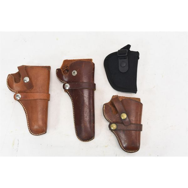 Box Lot 4 Holsters 3 Leather 1 Nylon