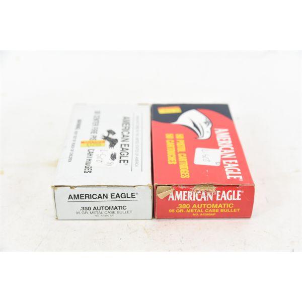 80 Rounds American Eagle 380 Auto 95 Grain