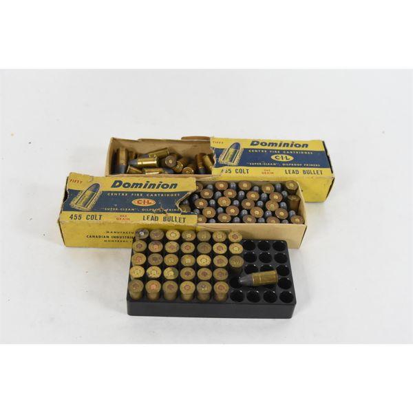 109 Rounds Dominion 455 Colt 265 Grain Lead Bullets