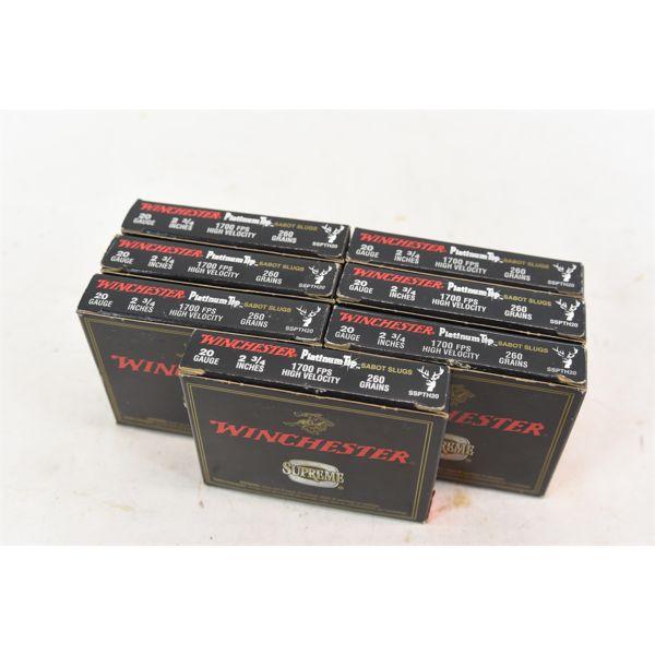 """Winchester Platinum Tip 20 Gauge 2-3/4"""" 260gr. 1700fps. Slugs"""