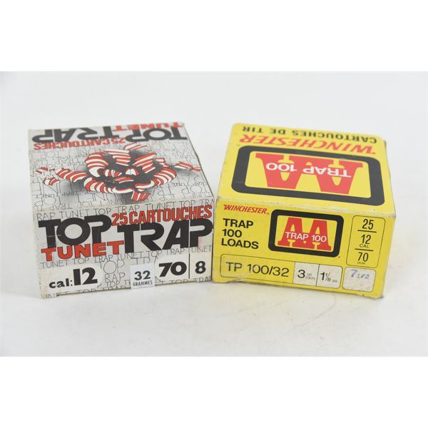 """25 Rounds Vintage Winchester Trap 100 """"AA"""" 12 Gauge No. 8 & 25 Rounds Top Trap 12 Gauge No. 8"""