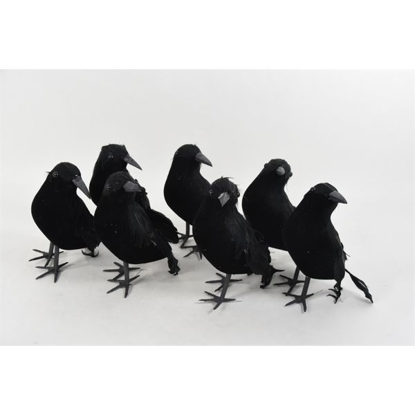 7 Feathered Crow Decoys