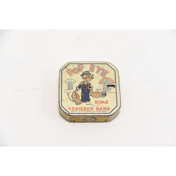 Vintage 1929 Popeye Dime Register Bank