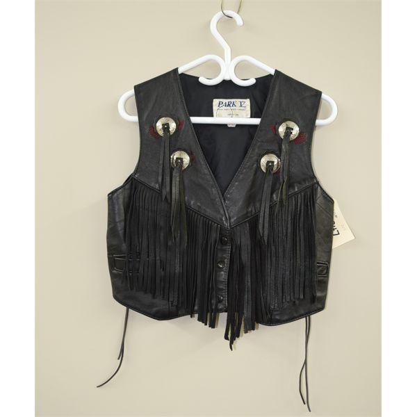 Ladies' Vintage 80's Park V Leather Fringed Biker Vest