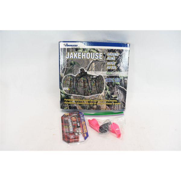Ameristep Jakehouse Ground Blind, Light/Laser Pointer Combo & 3 Whistles