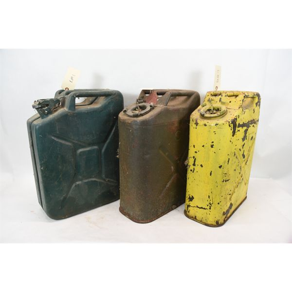 Box Lot Vintage Metal Jerry Can