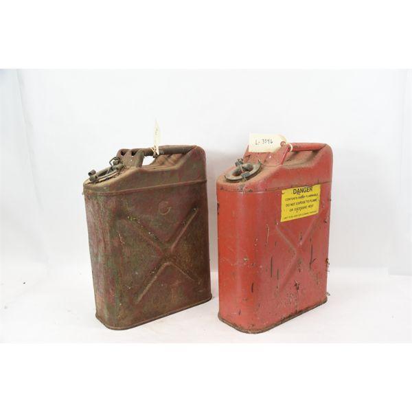 Box Lot Vintage Metal Jerry Cans