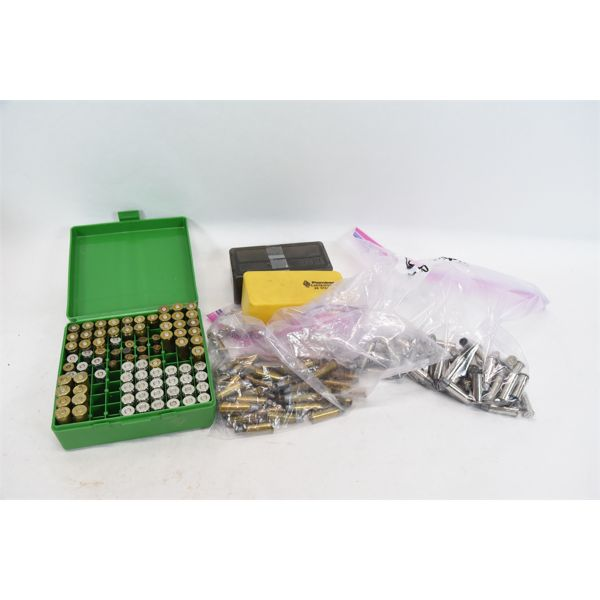 Assorted Reloaded Hand Gun Ammunition & Plastic Ammo Boxes