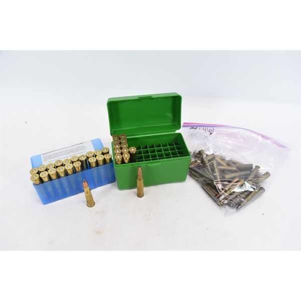 Assorted Center Fire Ammunition & Plastic Ammo Boxes