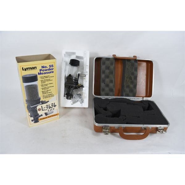 Lyman No.55 Powder Measure And Brown Hard Pistol  Case , No Key