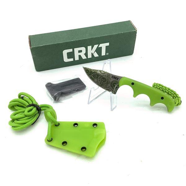 CRKT Minimalist Bowie, GITD Green W Paracord, Sheath and Lanyard 2387G
