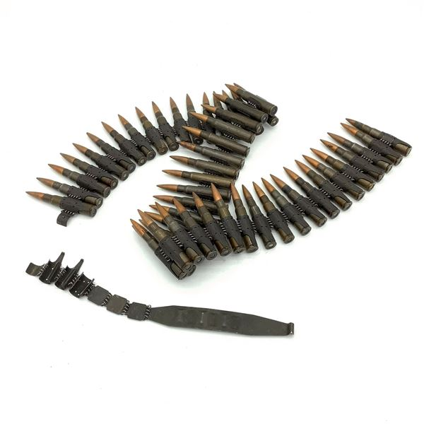 WWII German Dated MG34 / 42 Belt of 8mm Mauser Ammunition, 50 Rounds