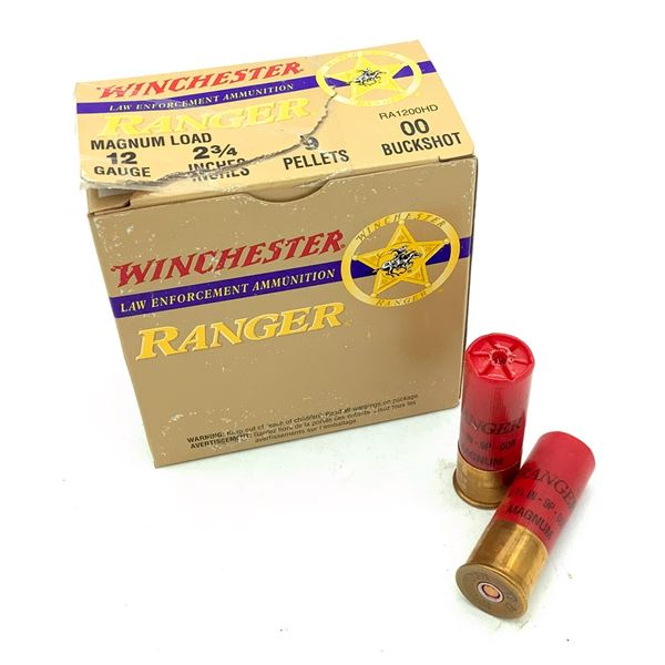 "Winchester Ranger 12 Ga Magnum 2 3/4"" 00 Buckshot Ammunition, 25 Rounds"