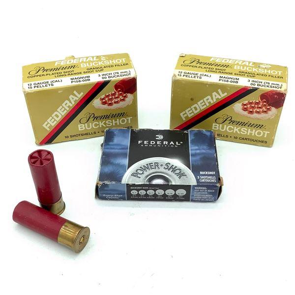 "Federal 12 Ga Magnum 3"" Buckshot Ammunition, 25 Rounds"