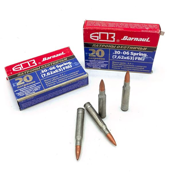 Barnaul Hunting 30-06 SPRG 145 Grain FMJ Ammunition, 44 Rounds