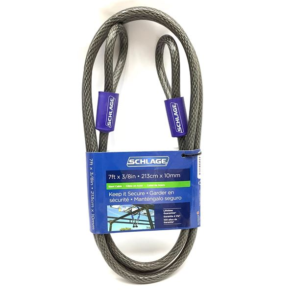 """Schlage 7' X 3/8"""" Lockable Steel Cable, New"""