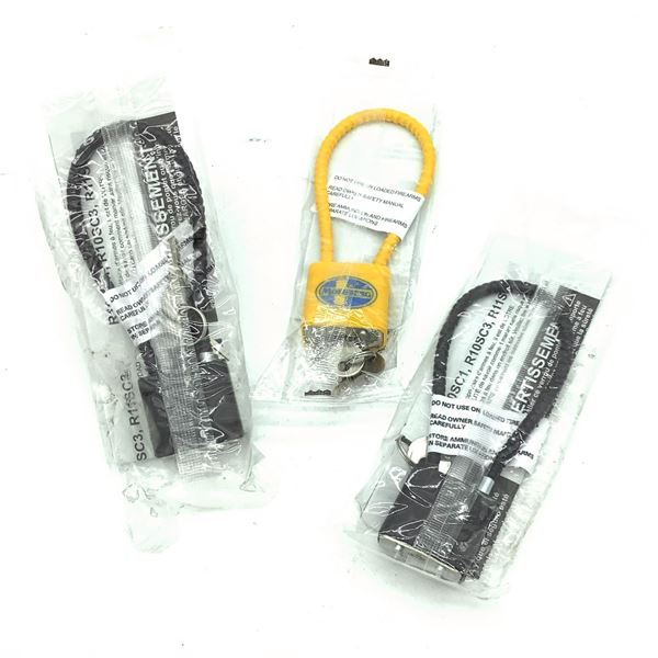 Keyed Cable Locks, (Yellow and Black) X 3, New