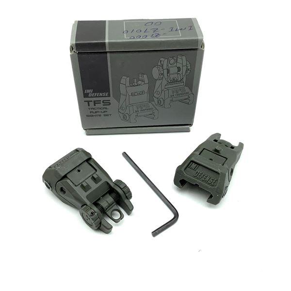 IMI Defense TFS Tactical Flip Up Sights, Set of 2 ODG, New