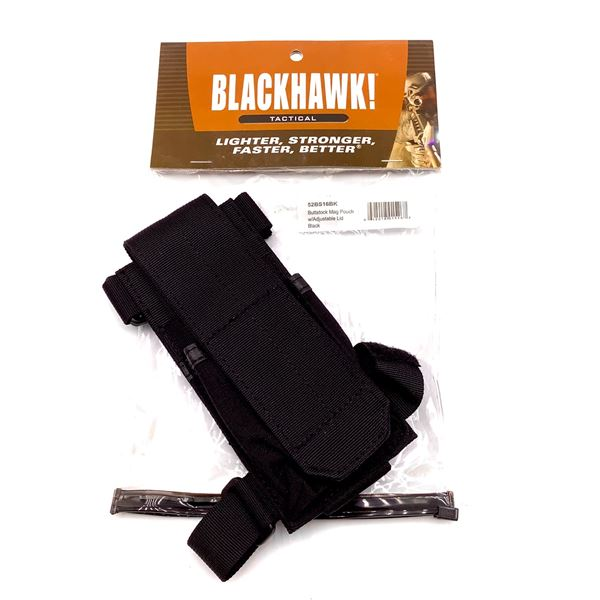 BlackHawk 52BS16BK Buttstock Magazine Pouch With Adjustable Lid, Blk, New