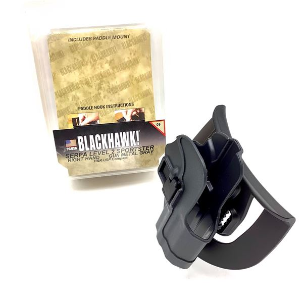 BlackHawk 413509BK-R Serpa LVL 2 RH Sportster H & K USP Compact Holster, BLK, New