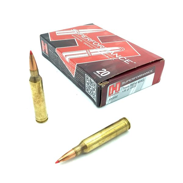Hornady Superformance 7mm Rem Mag 139 Grain GMX Ammunition, 20 Rounds