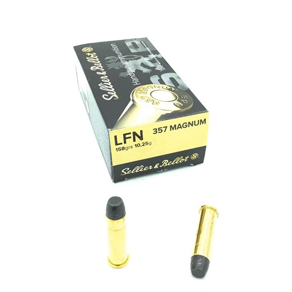 Sellier and Bellot 357 Mag 158 Grain LFN Ammunition, 45 Rounds