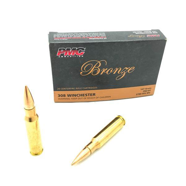 PMC Bronze 308 Win 147 Grain FMJ-BT Ammunition, 18 Rounds