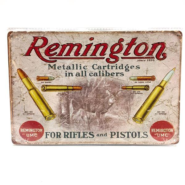 """Remington UMC Tin Sign 12"""" X 8"""", New"""