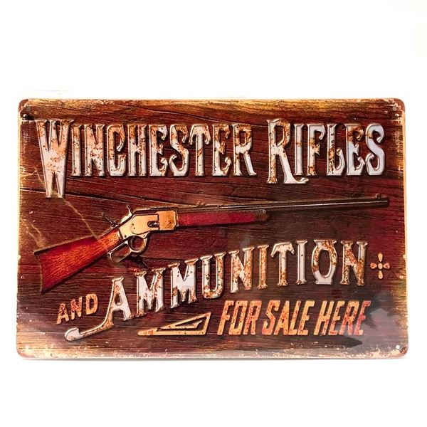 """Winchester Rifles and Ammunition Tin Sign 12"""" X 8"""", New"""