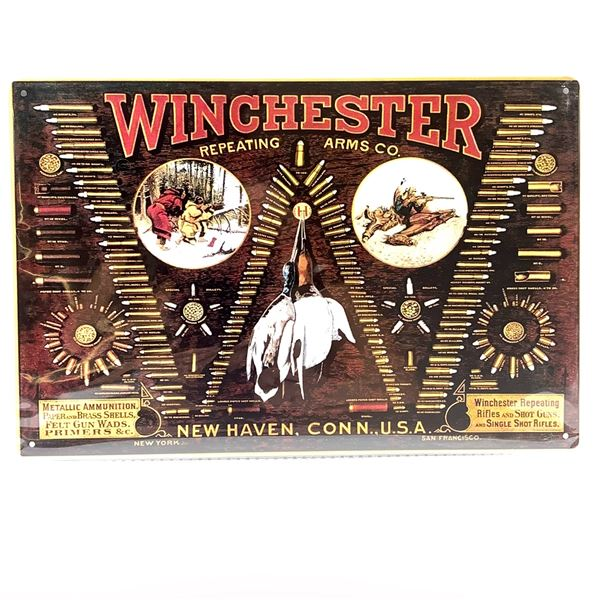 """Winchester Repeating Arms Tin Sign 12"""" X 8"""", New"""