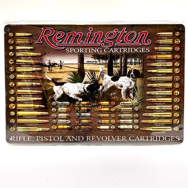 "Remington Sporting Cartridges Tin Sign, 12"" X 8"", New"