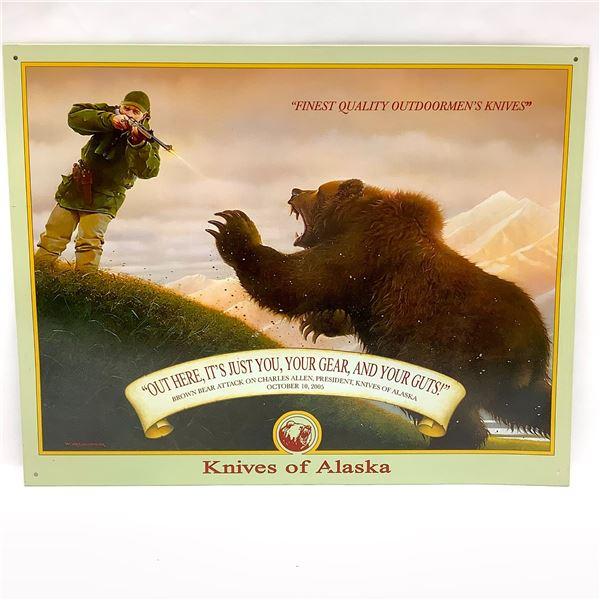 "Knives Of Alaska Gear and Guts Tin Sign, 16"" X 12.5"", New"