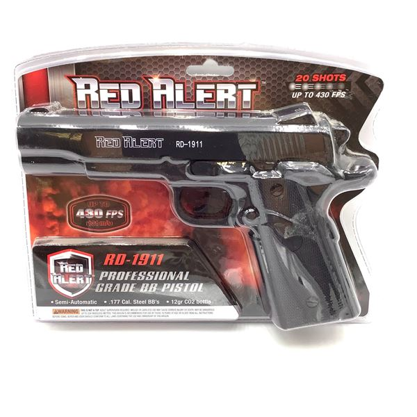 Red Alert 611164454 RD-1911 Semi Auto CO2 .177 Cal Air Pistol, Up to 430 fps, New