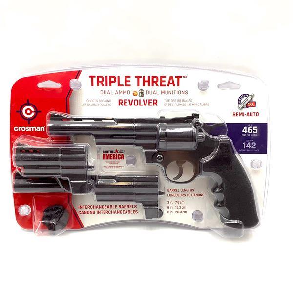 Crosman CR44TTKT Triple Threat Semi Auto CO2 .177 / BB 3- Barrel Revolver, Up to 465 fps, New