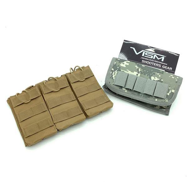 VISM Shotgun Ammunition Pouch, Digital Camo and Triple Rifle Magazine Pouch, New