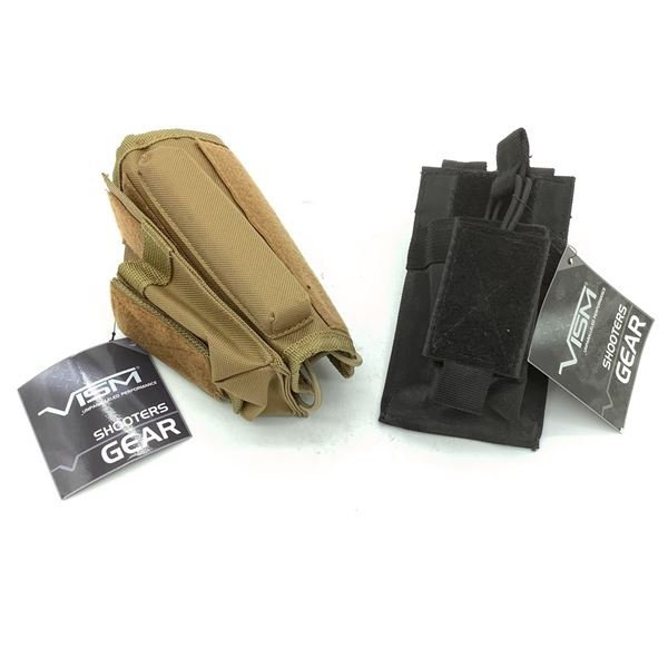 VISM Rifle Stock Riser Cheek Pad and Mag Pouch, CT, VISM Single Rifle Mag Pouch, Blk, New