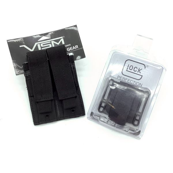 Glock Magazine Pouch, Small, New and VISM Double Pistol Magazine Pouch, Black, New