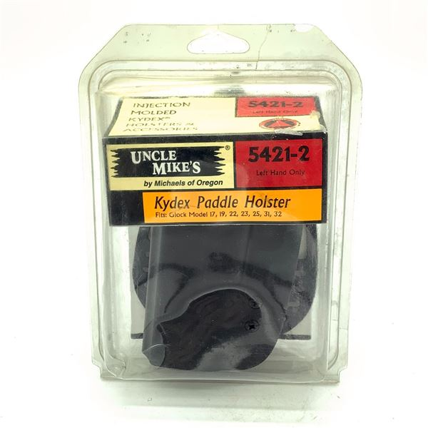 Uncle Mike's 5421-2 LH Kydex Glock 17/ 19 Paddle Holster, Black, New