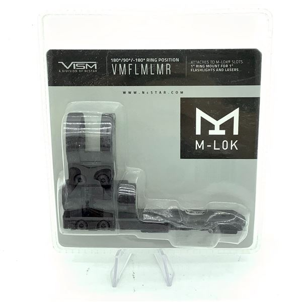 """VISM VMFLMLMR M-Lok Slots Extended 1"""" Ring Mount for 1"""" Flashlights and Lasers, New"""