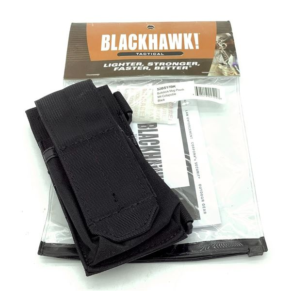BlackHawk 52BS17BK Collapsible M4 Buttstock Magazine Pouch, Black, New