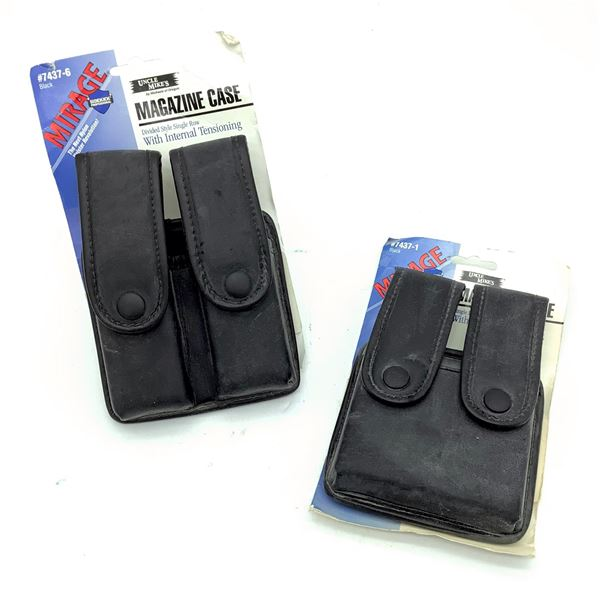 Uncle Mike's Mirage 7437-1 and 7437-6 Double Pistol Magazine Pouch X 2, Black