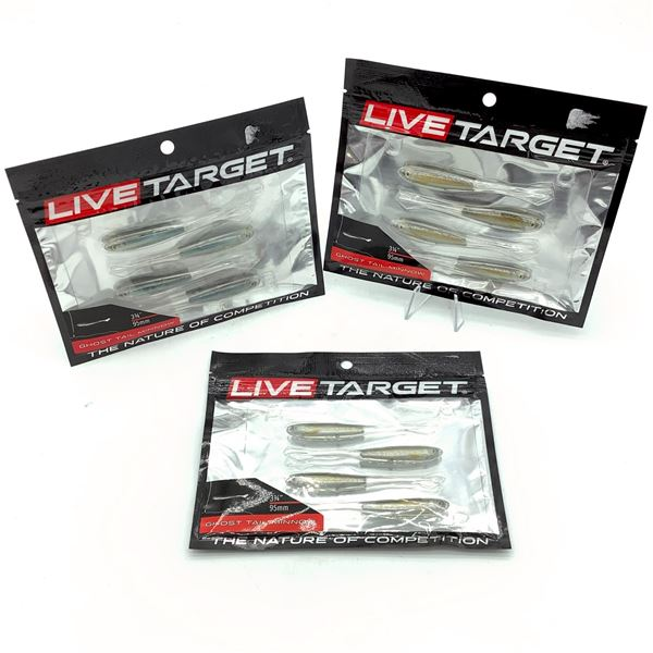 """3 X Live Target Assorted 3-3/4"""" Ghost Tail Minnow Bait, New"""