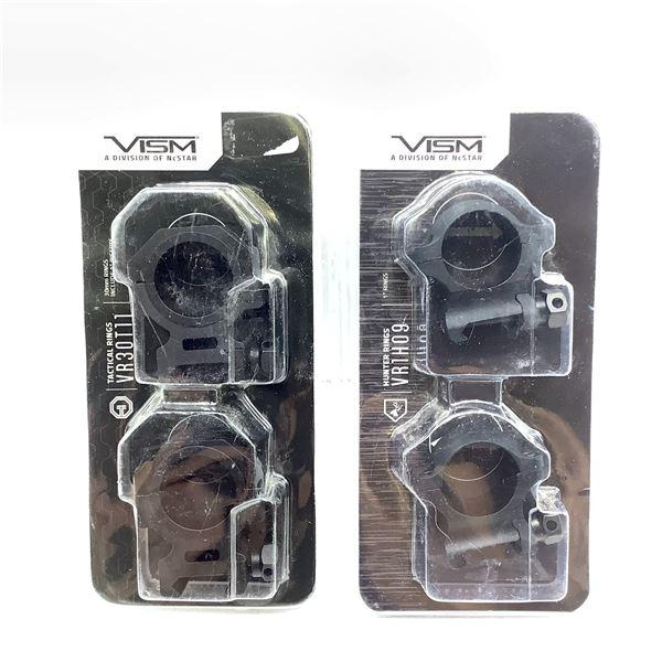 "1x Vism 1"" Hunter Rings, 1x Vism 30mm Tactical Rings, New"