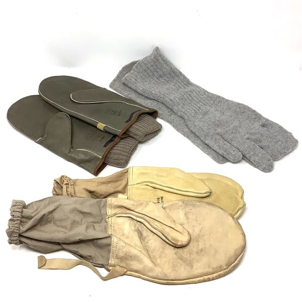 Leather Gloves and Liners, 1 Lg, 1 Med, and 1 Set of Gloves and Liners, Med